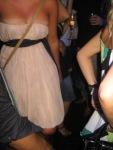 Her strapless dress almost ftoppled
